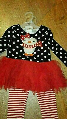 New Toddler Christmas Outfit Size 24 Girls Bonnie Baby Owl 2pc