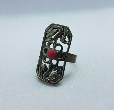 Rare Ancient Bronze Ring Roman, Stone Red, Ring  Antique Authentic Very Stunning