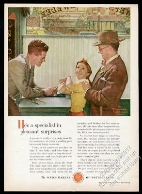 1954 Norman Rockwell girl and grandfather art Swiss watch Watchmakers print ad