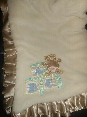 "Baby Blanket Bear ABC 30"" X 40"" Ivory Tan Satin Trim Super plush Fabric"
