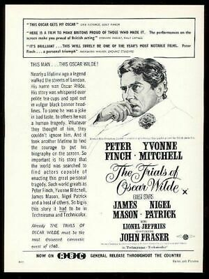 1960 la Trials Of Oscar Wilde Peter Finch Película Vintage Estampado Ad