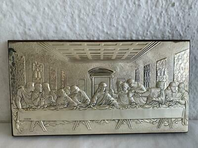 Lovely Religious Jesus Christ Pan 925 Silver The Last Supper Embossed Icon
