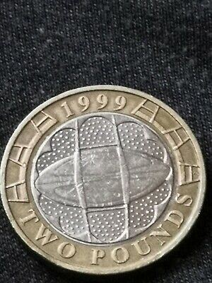 Rare £2 1999 rugby world cup coin