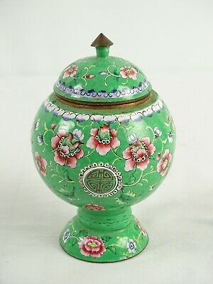Vintage Chinese Green Ground Enamel on Copper lidded Pot with Lotus Flower