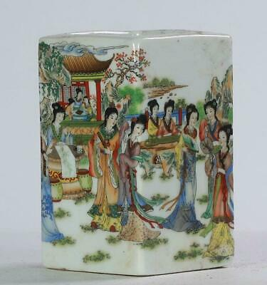 chinese old hand-made famille-rose porcelain 12 beautiful woman brush pot /Yc01