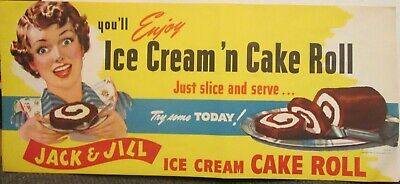 Vintage 1950s Jack & Jill Ice Cream Cake Roll sign -- old store stock