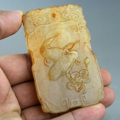 3.1'' China old jade hand-carved Chinese ancient words crane jade pendant 1290