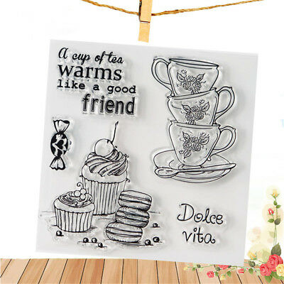 Teacup Clear Rubber Stamps Seal Scrapbooking Album Card Decor Diary DiyCraft M8Y