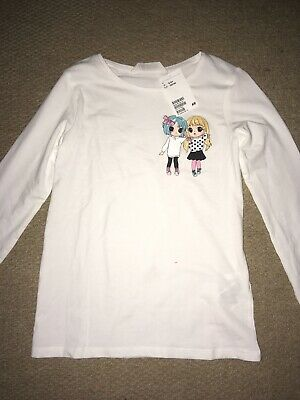 Girls Long Sleeved Top With Motif Age 9-10 Years Bnwt