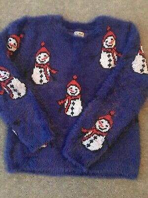 Next Girls Christmas Snowman Jumper Aged 8 Years