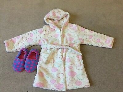 Fluffy Girls Dressing Gown 4-5yrs And M&S Slippers Size 9