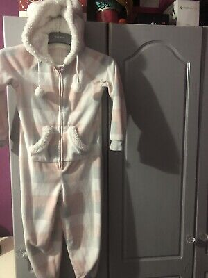 Girls all in one Sleepsuit Pjs 6-7 Years light pink Grey Checked