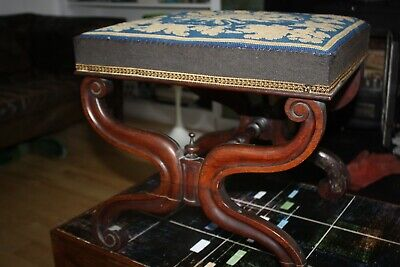 Antique Georgian Mahogany X Frame Footstool With Needlepoint Top