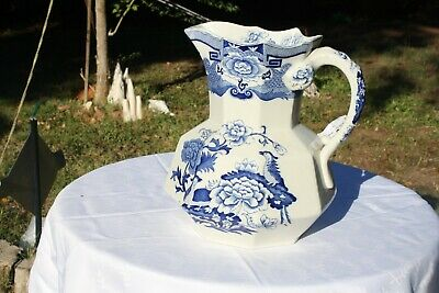 Antique Manson's Ironstone, Blue Willow, Large Pitcher, Nice England 11 1/2 Tall