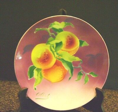 Antique French Majolica Porcelain Plate Ripe Peach Keller Guerin Obert 1850-1899