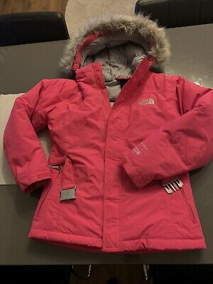 The North Face girl's Pink hooded Hyvent 550 down filled belted coat/jacket