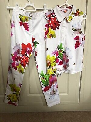 Ted Baker Girls Floral/White 2 Piece Outfit Set Trousers Shirt Age 10 VGC