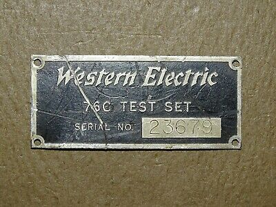 Western Electric Metal Name Plate for 76C Test Set