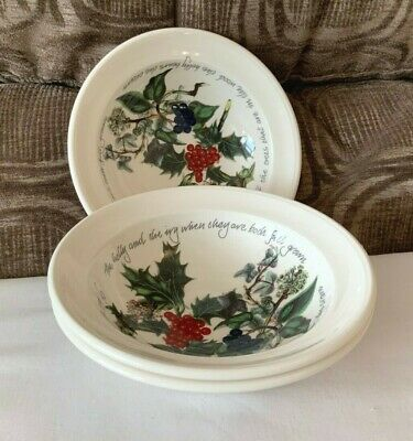 PORTMEIRION HOLLY AND IVY SET of THREE OATMEAL BOWLS UNUSED