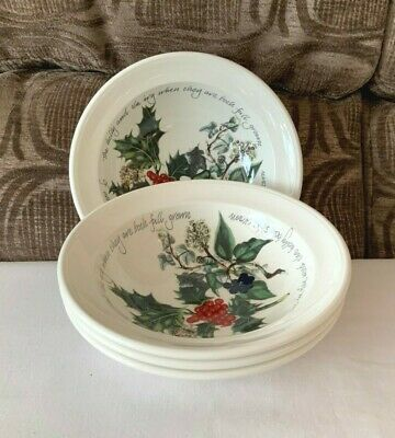 PORTMEIRION HOLLY AND IVY SET of FOUR OATMEAL BOWLS UNUSED