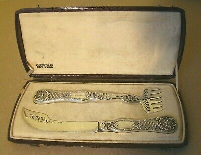 Antique TIFFANY & Co. Martele STERLING 708 cased Fish Set fancy personal small