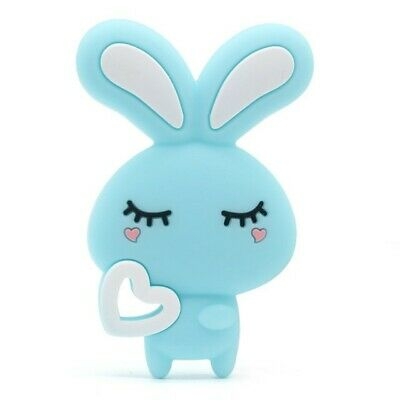 Cute Blue Silicone Baby Teether Spring Bunny Rabbit Teething Toy Baby Gift