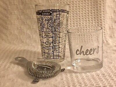3 pc COCKTAIL KIT: Recipe Pint Glass, Strainer & 10oz Cheers Glass