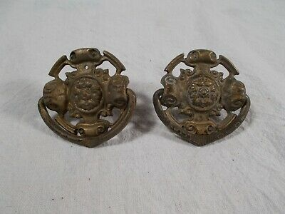 ANTIQUE pair of VINTAGE Victorian CAST Embossed Bail Finger PULLS c1920s