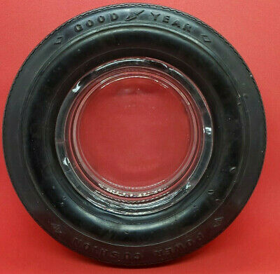 Vintage Goodyear Rubber tire with glass  insert ashtray