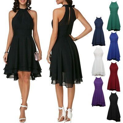 Chic Women Halter Sleeveless Party Club Chiffon Dress Wedding Evening Dresses