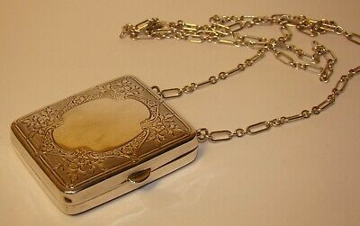 Vintage Sterling Silver Coin Purse Compact N&M with long chain 77.5 grams