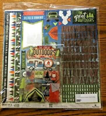 CAMPING Outdoors Vacation Collection 12X12 Scrapbook Kit OAM NEW