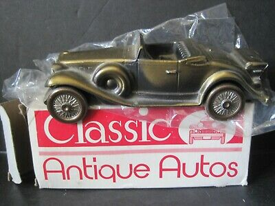 Vintage 1930 Cadillac Convertible Banthrico Metal Car Coin Bank New In Box