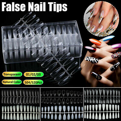 Full Cover False Nail Tips-Acrylic Natural Clear Stiletto Almond Display Coffin