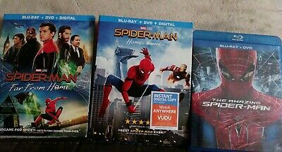 Spider-Man Far From Home (Blu-Ray 2019)& Home Coming & Amazing Spider man 3 DVD