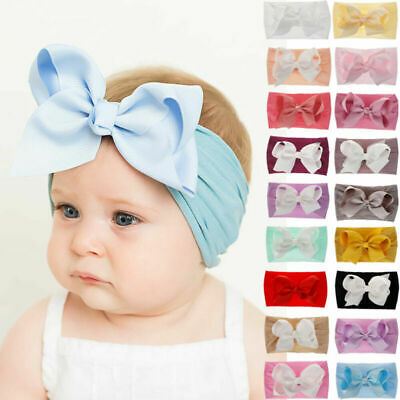 Baby Rabbit Headband Nylon Elastic Bowknot Hair Band Girls Bow-knot Newborn Bow