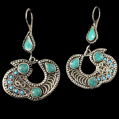 Very Rare Ancient Silver Bird Earrings With Blue Stones (2)