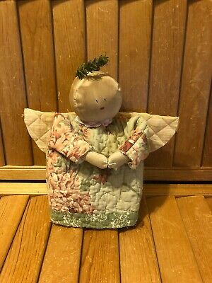 Primitive Angel  Stump Doll - Winter - Christmas - quilted dress-a
