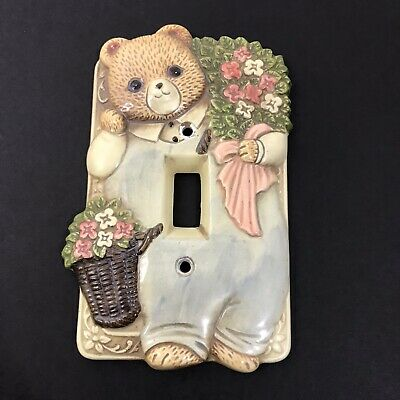 Takahashi Vintage Ceramic Switch Plate Cover Bear Flowers Baby Child Room Decor