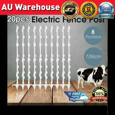 20x Strip Graze Poly Tread in Posts 8 Wire Tape Electric Fence Post Fencing NEW