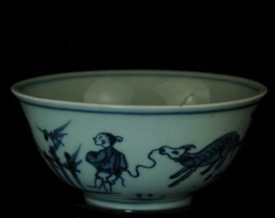 china old blue and white porcelain hand painted pasture cattle child bowl /Db01