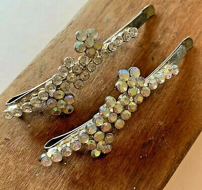 SNOWFLAKE BOBBY PIN SET crystal rhinestone silver hair clip blue clear frozen 1H
