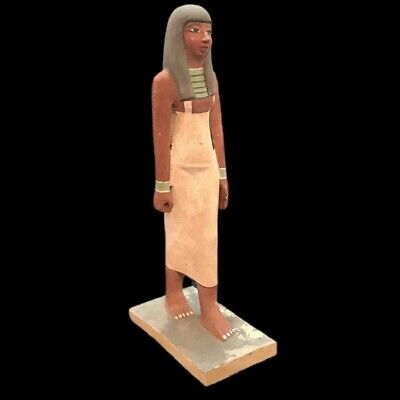 BEAUTIFUL ANCIENT HUGE EGYPTIAN WOODEN STATUE 300 BC (1) 42 Cm TALL !!!