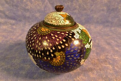 Fine Meiji Japanese Cloisonne Footed Ginger Jar Peacock Floral 11Cm