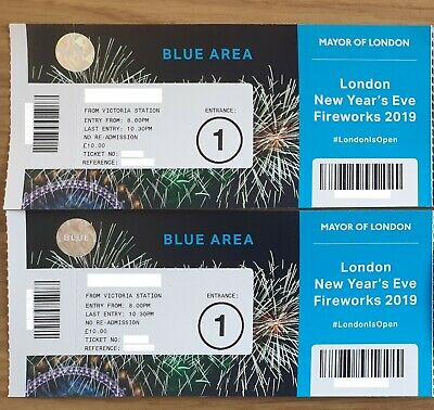 2019 London New Year Fireworks Tickets x2 Blue Area (Entrance 1)