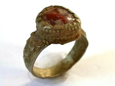 Genuine,Beautiful,Detector Find,Post Medieval Bronze  Ring With Red Glass/Stone