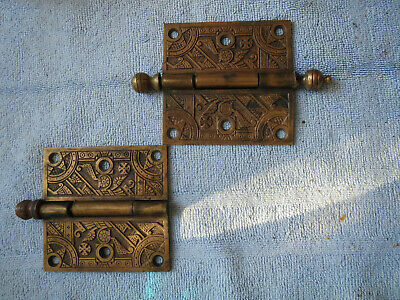2 Eastlake Victorian Hinges Antique Egyptian Motif Brass 4 X 4
