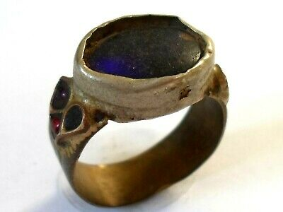 Genuine,Beautiful,Detector Find,Post Medieval Bronze Ring With Blue Glass/Stone