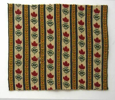 Charming Antique 19th C. French Floral Wool Needlepoint  (8096)