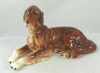 Porcelain Irish Setter Dog Lying Figurine